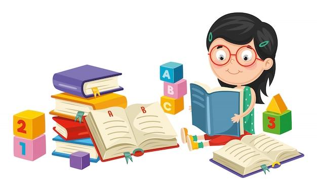 Ilustração em vetor de livro de leitura de menina Vetor Premium