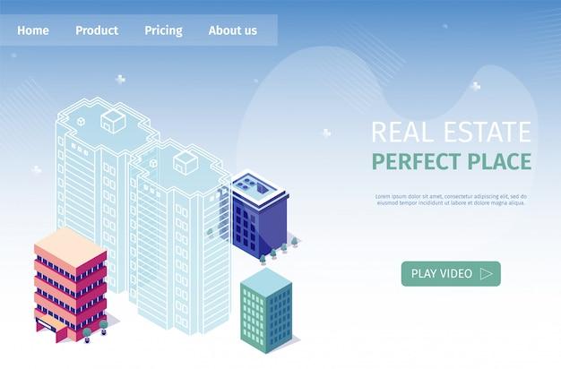 Ilustração em vetor de lugar perfeito de imóveis Vetor Premium