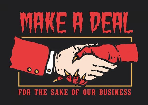 Ilustração em vetor de mão tremendo entre homem e diabo fazer um acordo para negócios Vetor Premium