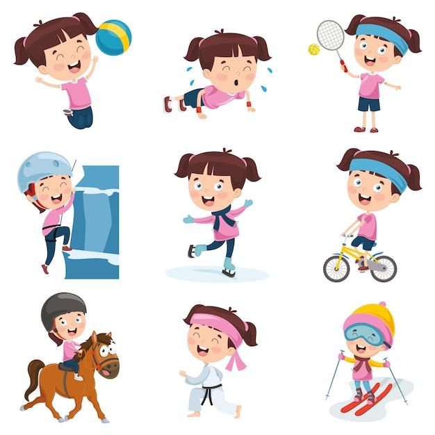 Ilustração em vetor de menina dos desenhos animados, fazendo várias atividades Vetor Premium