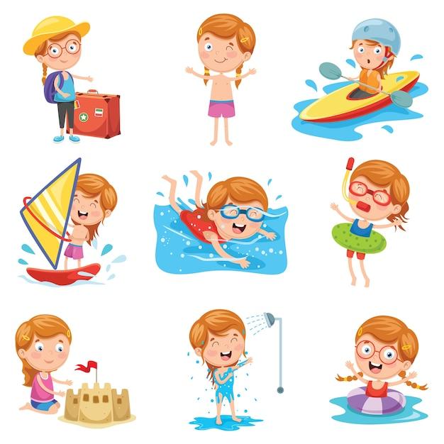 Ilustração em vetor de menina nas férias de verão Vetor Premium