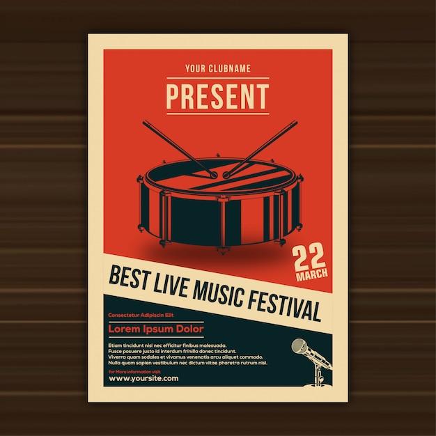 Ilustração em vetor de modelo de cartaz do festival de música Vetor Premium