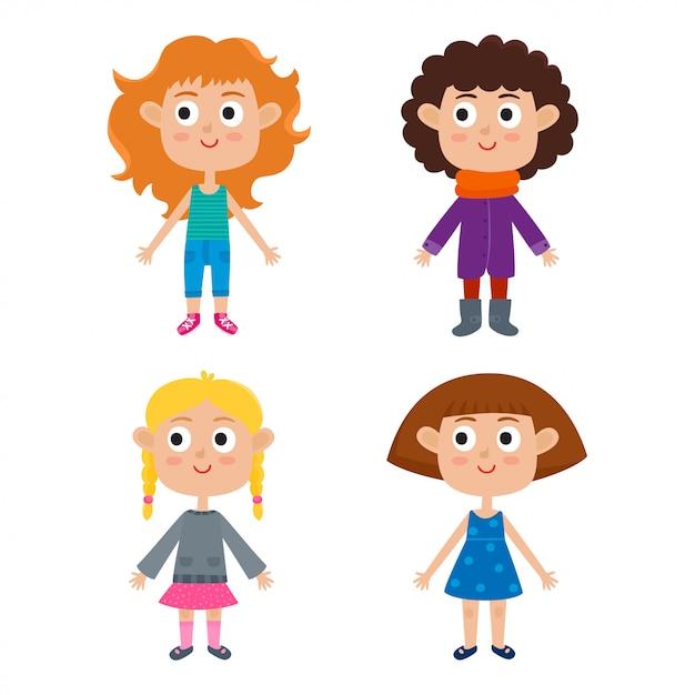 Ilustração em vetor de modelo de corpo de meninas jovens europeus dos desenhos animados Vetor Premium