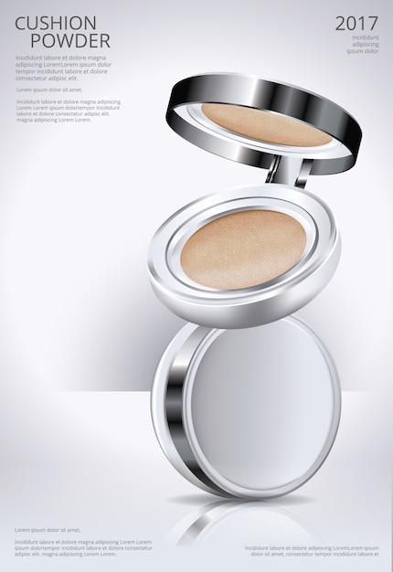 Ilustração em vetor de modelo de poster de coxim de pó de maquiagem Vetor Premium
