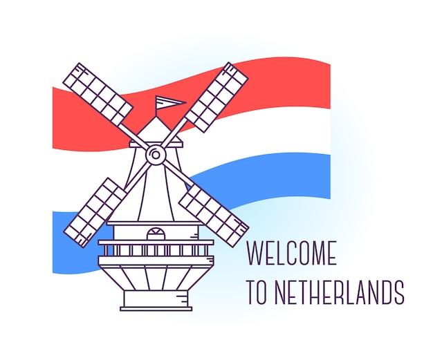 Ilustração em vetor de moinho de vento na holanda. marco de amsterdã. símbolo da holanda. pontos turísticos da europa. Vetor Premium