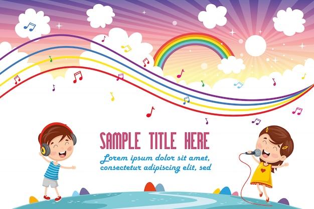 Ilustração em vetor de música de crianças Vetor Premium