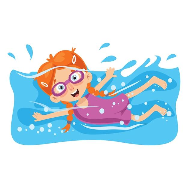 Ilustração em vetor de natação infantil Vetor Premium