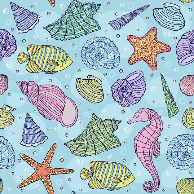 Ilustração em vetor de padrão sem emenda com conchas do mar Vetor Premium