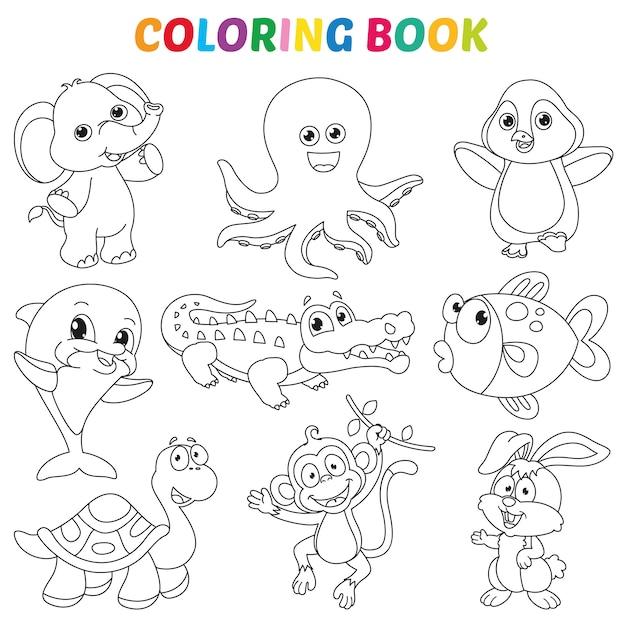 Ilustração em vetor de página de livro de colorir Vetor Premium