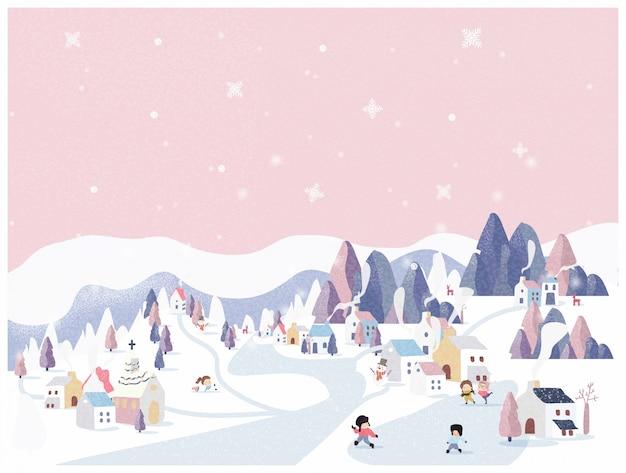 Ilustração em vetor de país das maravilhas do inverno em fundo rosa pastel. Vetor Premium