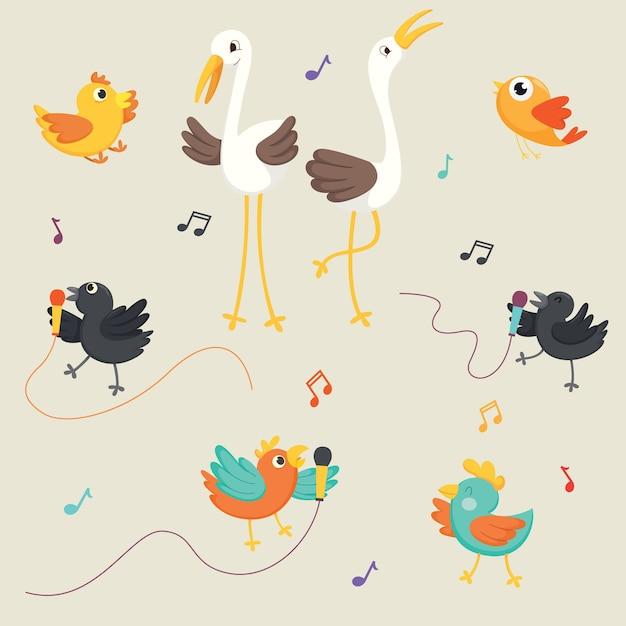 Ilustração em vetor de pássaros cantando Vetor Premium