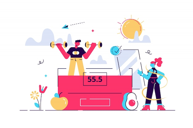 Ilustração em vetor de perda de peso e gordura. Vetor Premium
