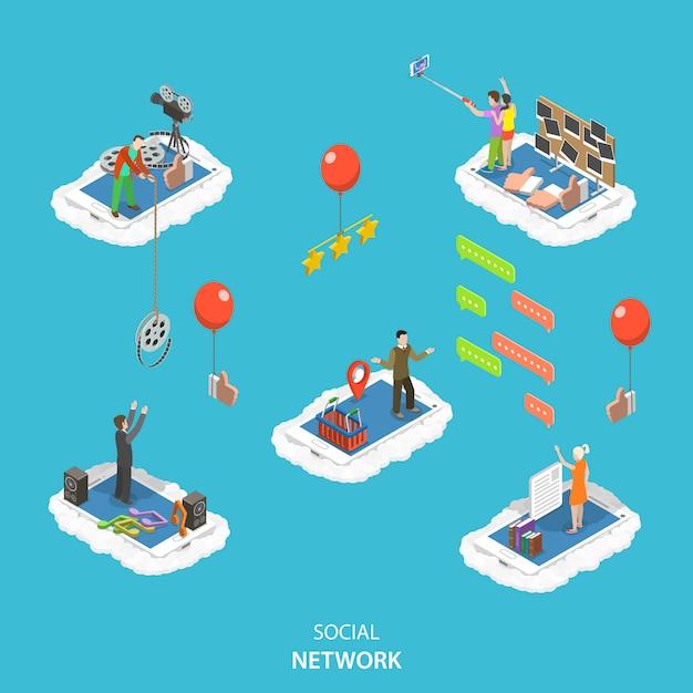 Ilustração em vetor de plano isométrico rede social. Vetor Premium