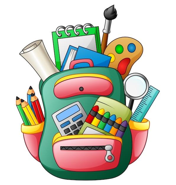 Ilustração em vetor de saco de escola com material escolar Vetor Premium