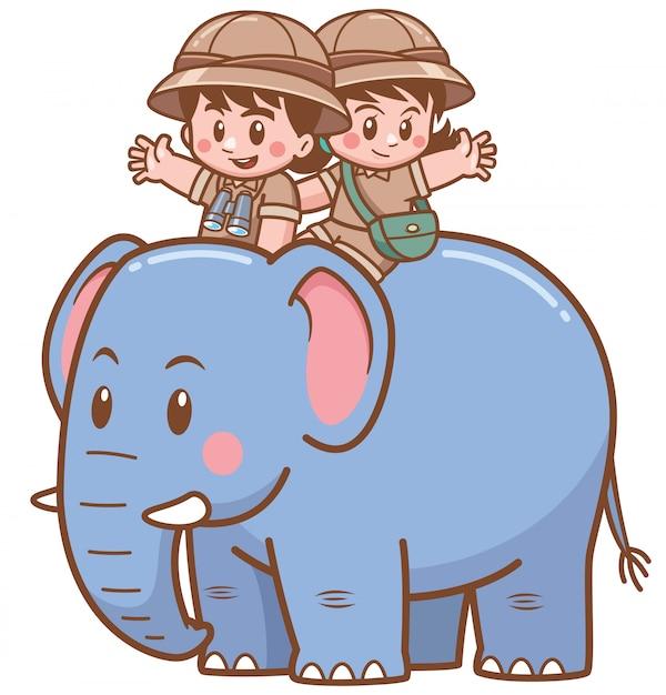 Ilustração em vetor de safari menino e menina montar elefante Vetor Premium