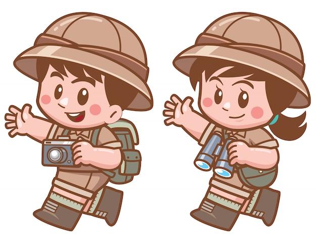 Ilustração em vetor de safari menino e menina Vetor Premium