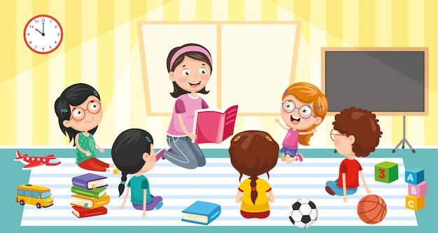 Ilustração em vetor de sala de aula Vetor Premium