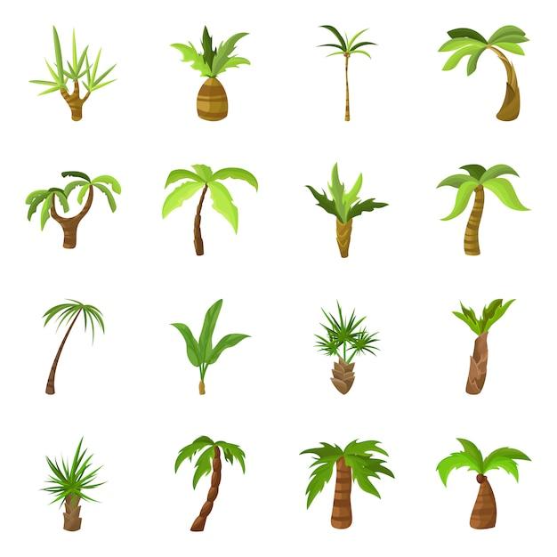 Ilustração em vetor de símbolo de árvore e praia. conjunto de árvore e verão estoque símbolo para web. Vetor Premium