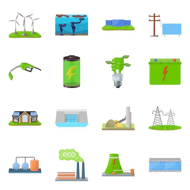 Ilustração em vetor de sinal de ecologia e natureza. coleção de ecologia e conjunto de planeta Vetor Premium