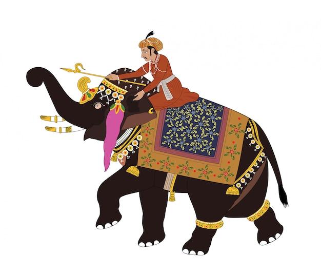 Ilustração em vetor de soldado equitação elefante Vetor Premium