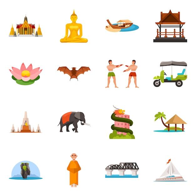 Ilustração em vetor de tailândia e símbolo de viagens. coleção da tailândia e conjunto de cultura Vetor Premium