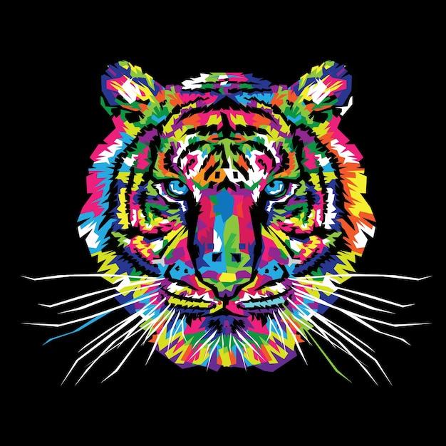 Ilustração em vetor de tigre colorido Vetor Premium