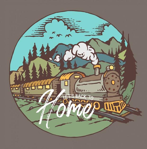 Ilustração em vetor de trem com fundo de montanha Vetor Premium