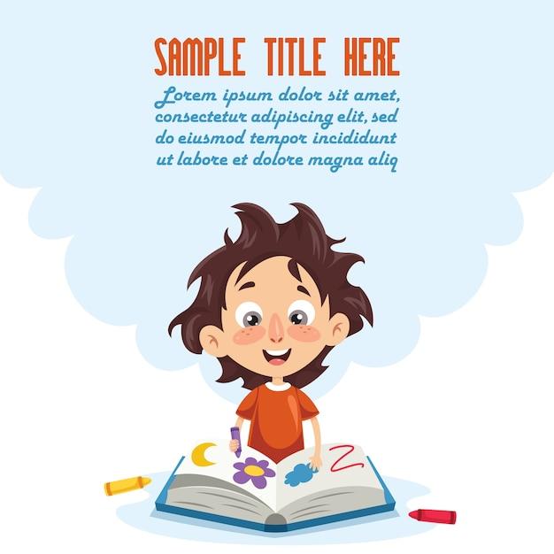 Ilustração em vetor de um garoto coloring book Vetor Premium