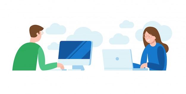 Ilustração em vetor de um homem e uma mulher sentada na frente do computador e trabalhando em um projeto, procurando, conversando. Vetor Premium
