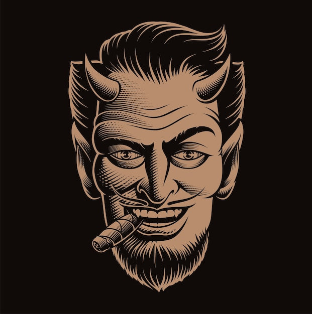 Ilustração em vetor de um rosto de demônio fumando um charuto no escuro Vetor Premium
