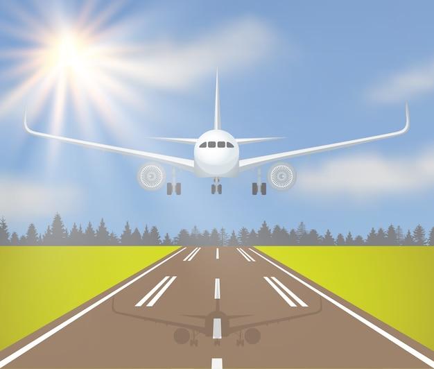 Ilustração em vetor de uma aterrissagem ou decolagem de avião com floresta, grama e sol no céu. Vetor Premium