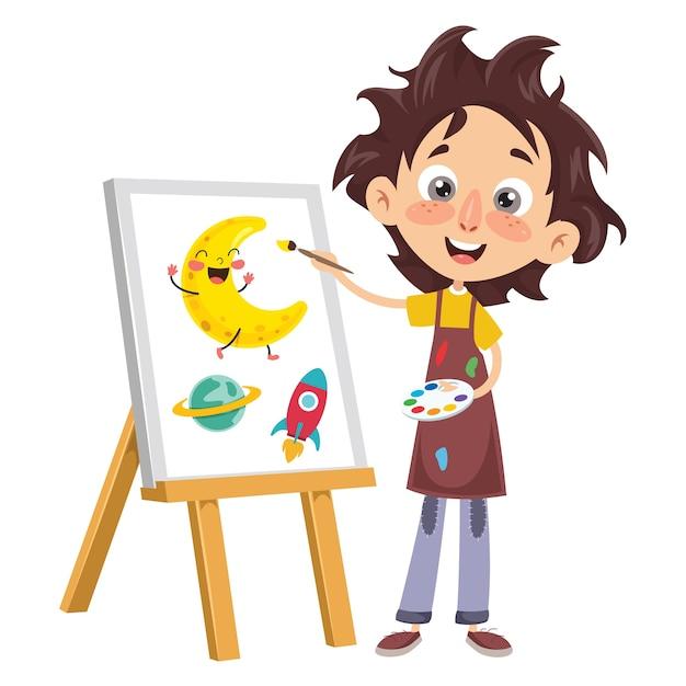 Ilustração em vetor de uma pintura de criança Vetor Premium