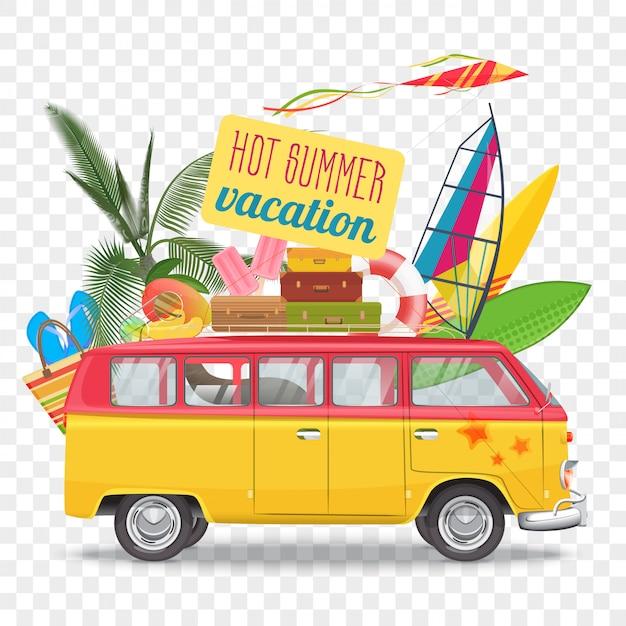 Ilustração em vetor de viagens de verão com ônibus Vetor Premium