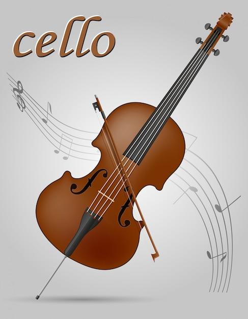 Ilustração em vetor de violoncelo instrumentos musicais Vetor Premium