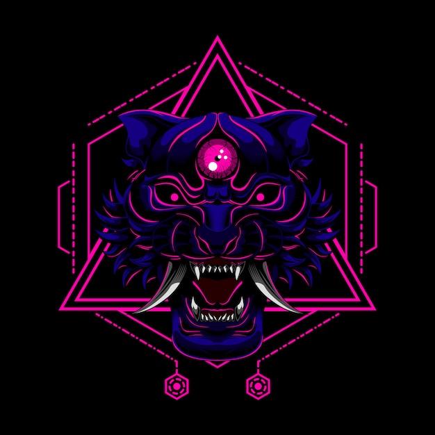 Ilustração em vetor demônio demônio tigre Vetor Premium