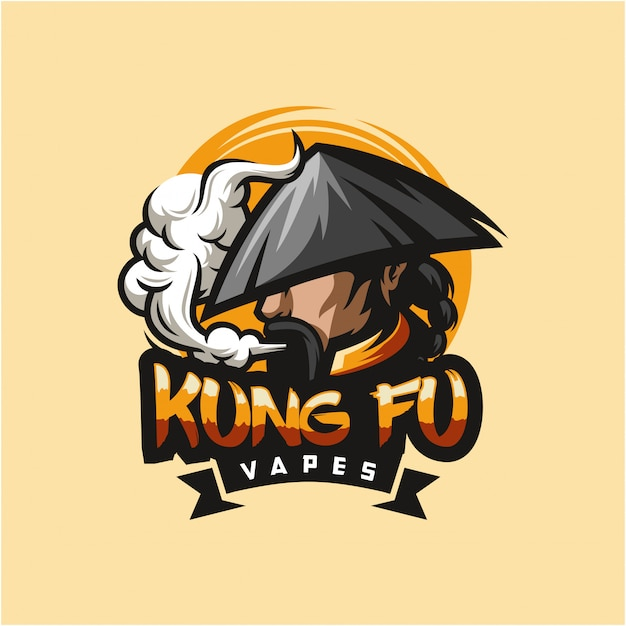 Ilustração em vetor design de logotipo kungfu vape Vetor Premium