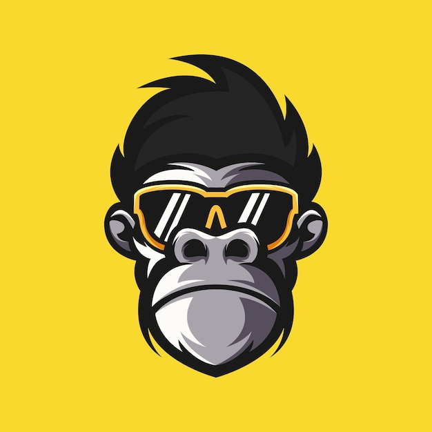 Ilustração em vetor design logotipo macaco Vetor Premium