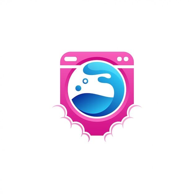 Ilustração em vetor design logotipo máquina de lavar roupa Vetor Premium