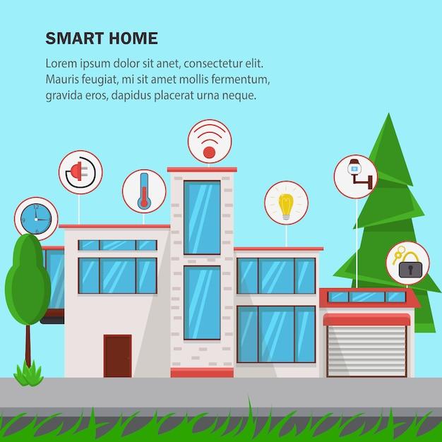 Ilustração em vetor design plano em casa inteligente. Vetor Premium