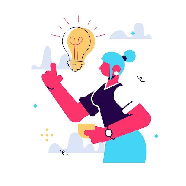 Ilustração em vetor dos desenhos animados da ideia de mulheres veio. personagem feminina está em seu dedo indicador. amanheceu com lâmpada incandescente Vetor Premium