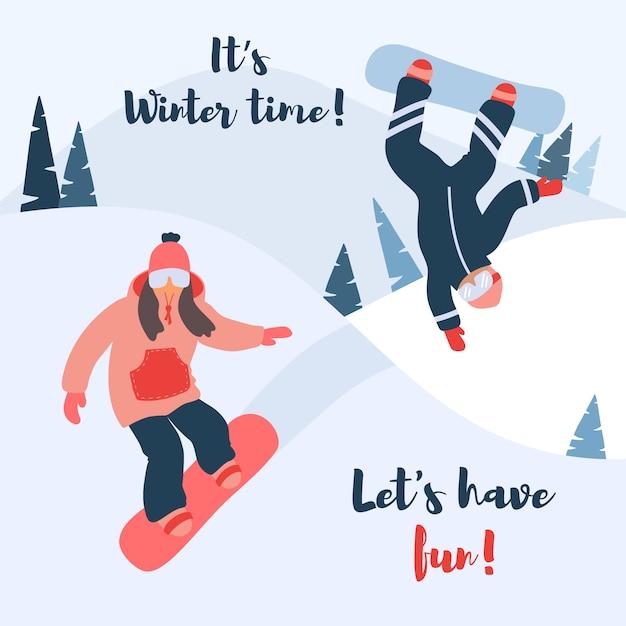 Ilustração em vetor dos desenhos animados de snowboard. Vetor Premium