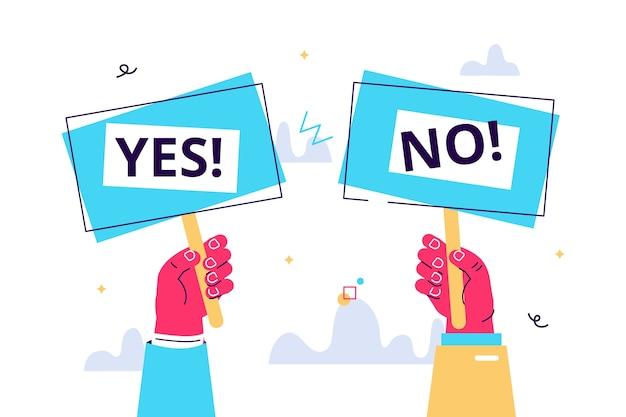 Ilustração em vetor dos desenhos animados do banner sim não na mão humana. pergunta de teste. escolha hesita, disputa, oposição, escolha, dilema, visão do oponente. Vetor Premium
