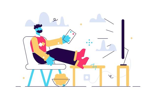 Ilustração em vetor dos desenhos animados do homem sentado no sofá e assistindo tv. personagens engraçados. procrastinação, conceito de fim de semana. Vetor Premium
