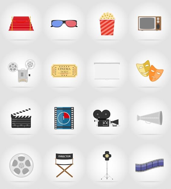 Ilustração em vetor elementos planos de cinema Vetor Premium