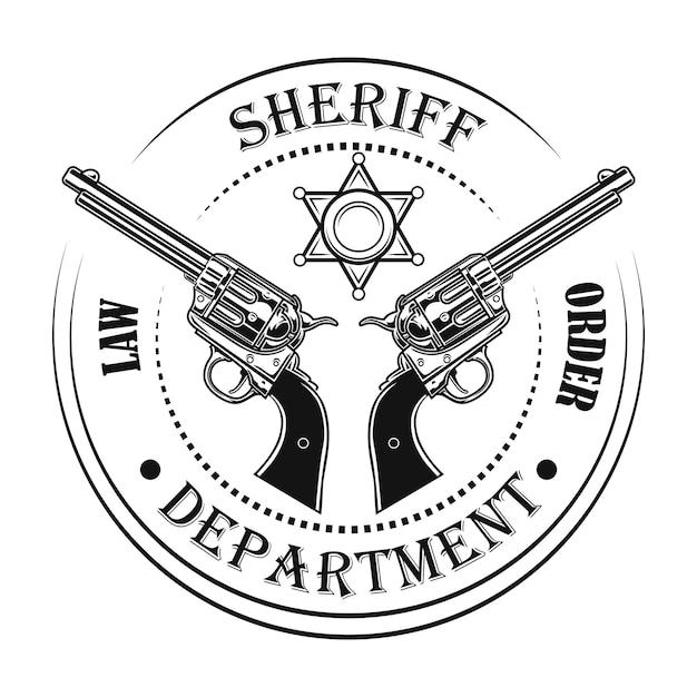 Ilustração em vetor emblema departamento xerife. armas e texto, carimbo circular Vetor grátis