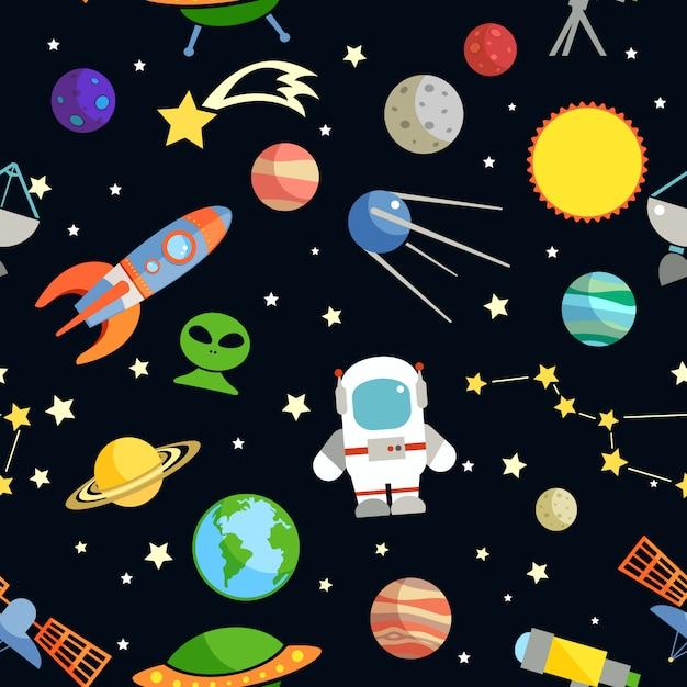 Ilustração em vetor espaço e astronomia símbolos decorativos sem costura padrão Vetor grátis
