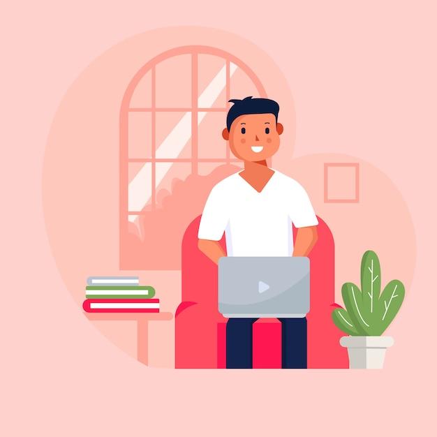 Ilustração em vetor estilo simples estudo em casa . pessoas estudando on-line usando o computador. Vetor Premium