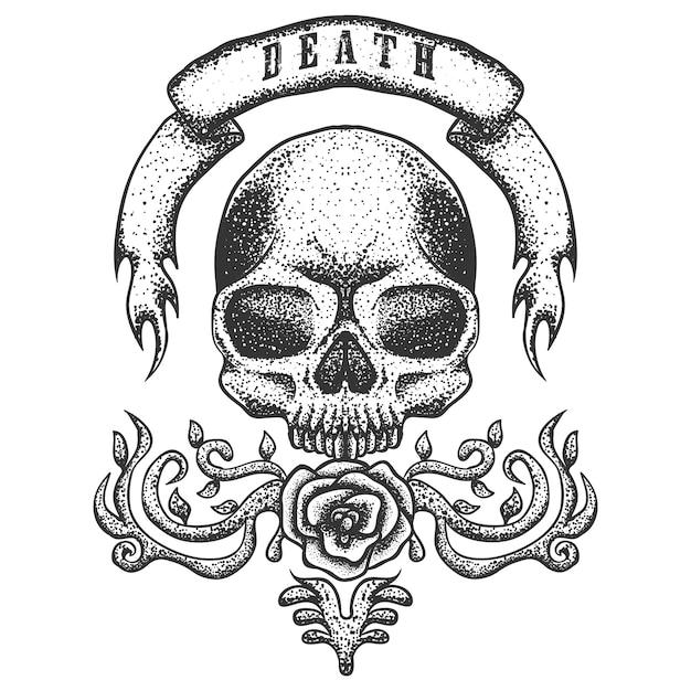 Ilustração em vetor fita vintage crânio Vetor Premium