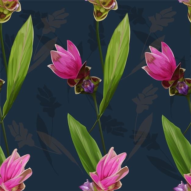 Ilustração em vetor flor sem costura padrão siam tulip Vetor Premium