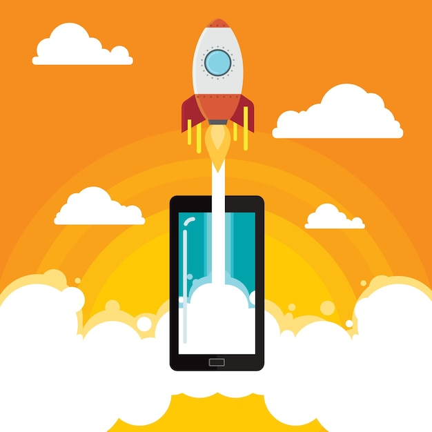 Ilustração em vetor foguete negócio móvel idéia Vetor Premium
